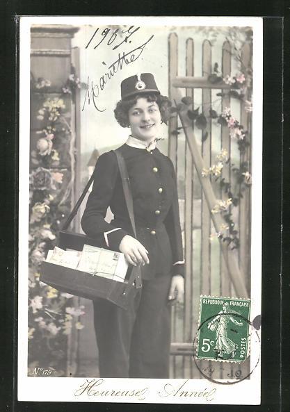 AK Briefträger mit Tasche, Neujahrsgruss