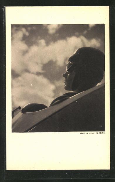AK Plein ciel, Segelflieger mit Helm und Schutzbrille