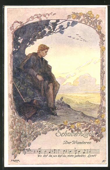 Künstler-AK sign. Elsner: Schubert-Lieder, Der Wanderer, Wo bist du, wo bist du, mein geliebtes Land?