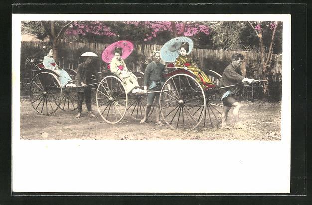 AK drei Geishas in Rikscha