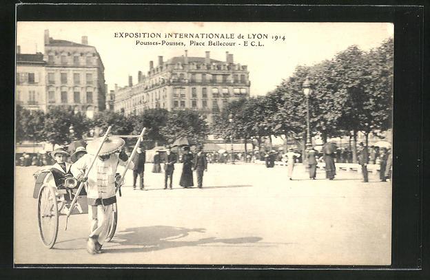 AK Lyon, Exposition Internationale 1914, Pousse-Pousses, Place Bellecour, Rikscha 0