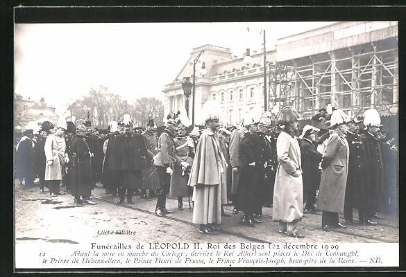 AK Funerailles de Leopold II. Roi de Belges 1909, Roi Albert, le Prince de Hohenzollern & Henri de Prusse