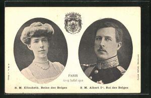 AK S.M. Elisabeth, Reine des Belges & S.M. Albert Ier, Roi des Belges 12-15 Juillet 1910 Paris