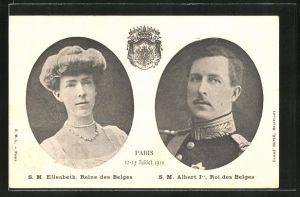 AK Elisabeth, Reine des Belges & Albert Ier, Roi des Belges, 12-15 Juillet 1910 Paris
