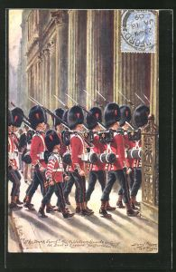 Künstler-AK Harry Payne: The Bank Guards, the Coldstream Guards entering the Bank of England