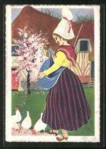 Künstler-AK Charles Homualk: Cour de Ferme, Bäuerin füttert die Hühner