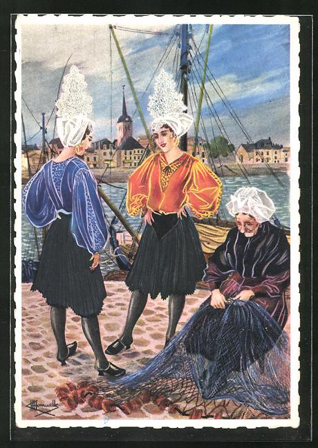 Künstler-AK Charles Homualk: Les Sables d'Olonne, Costumes Sablais