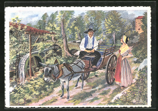 Künstler-AK Charles Homualk: Fontanas, Moulin à Eau, Mann mit Eselgespann an der Wassermühle