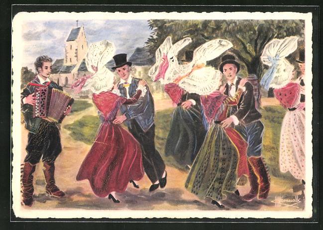 Künstler-AK Charles Homualk: La Normandie, La Coutancaise, Paare in Tracht beim Tanz