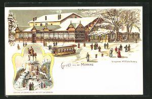 Winter-Lithographie Duisburg, Gasthaus Monning, Denkmal Kaiser Wilhelm I. auf dem Kaiserberg