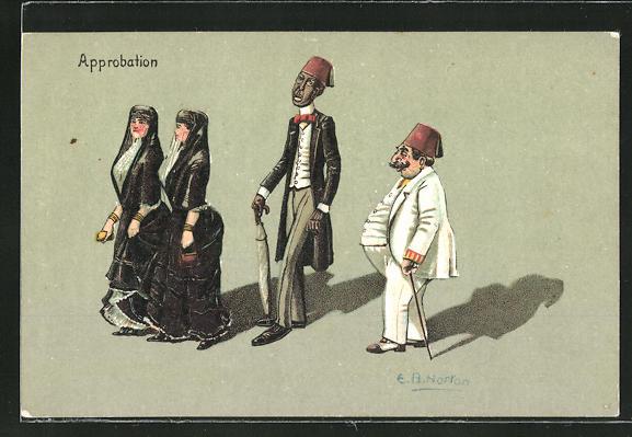 Künstler-AK sign. E. B. Norton: Approbation, nordafrik. afrikanische Damen und Herren, Scherz