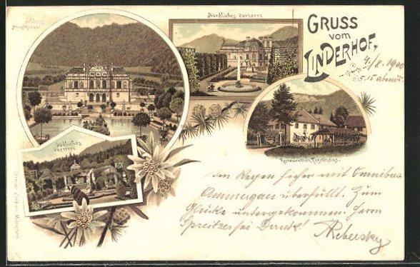 Lithographie Linderhof, Schloss, südliches und nördl. Parterre, Restauration Forsthaus
