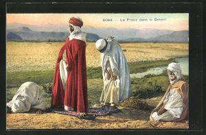 AK La Prière dans le Désert, Araber beim Gebet in der Wüste