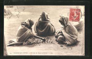 AK Un Jeu de Dames primitif, arabische Kinder beim Dame-Spiel