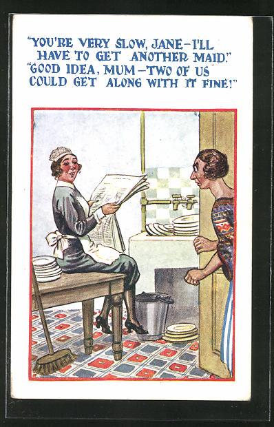AK Dienstmädchen liest die Zeitung und lässt das schmutzige Geschirr warten