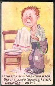 AK Junge wäscht sein Gesicht und seinen Nacken mit einer Waschschüssel auf dem Stuhl, Scherz