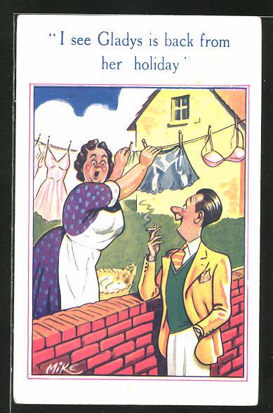 AK Junger Dandy erschrickt die Hausfrau, die die Wäsche aufhängt, Scherz