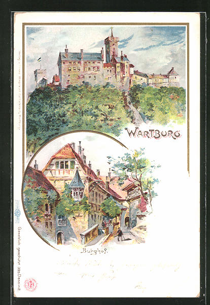 AK Eisenach, Blick auf die Wartburg und den Burghof