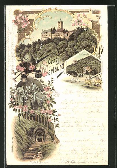 Lithographie Eisenach, Blick auf die Wartburg, Fritz-Reuter-Villa und Elisabeth-Brunnen