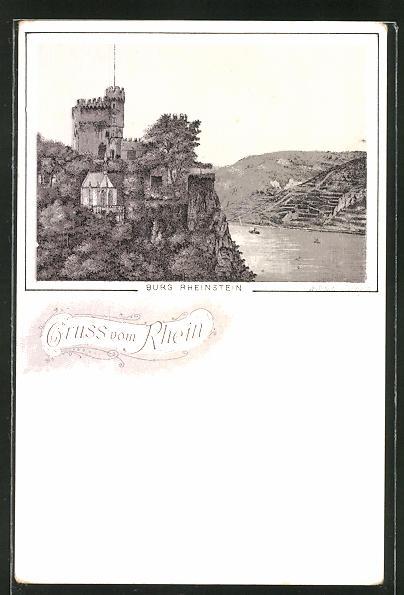 AK Burg Rheinstein, Blick auf Burg und Rhein