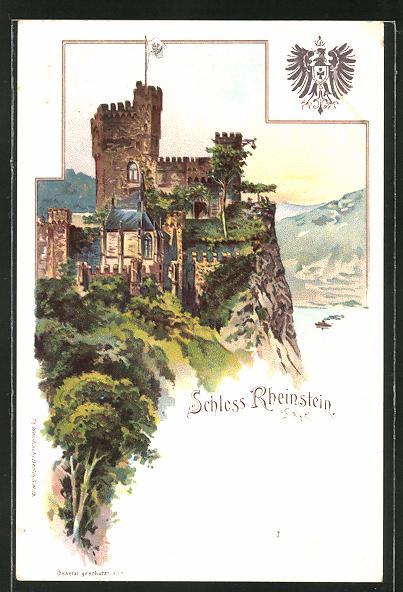 AK Burg Rheinstein, Dampfer auf dem Rhein, Wappen