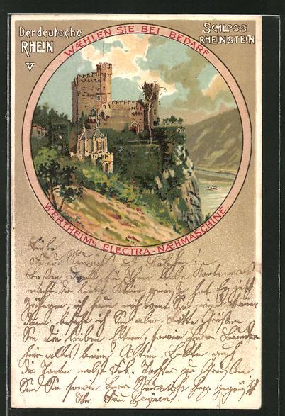 AK Schloss Rheinstein im Passepartout-Rahmen, Reklame für Wertheim's Electra-Nähmaschine