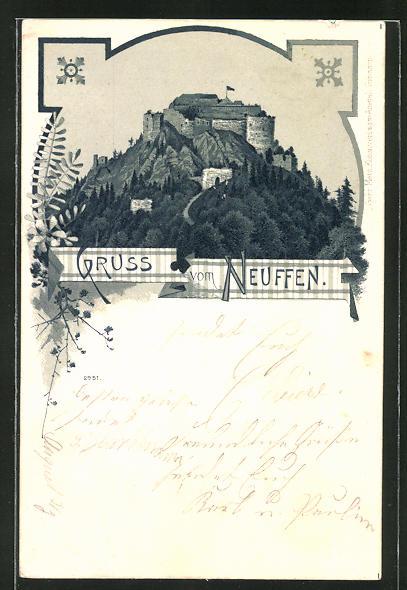 AK Burg Neuffen vom Tal aus gesehen