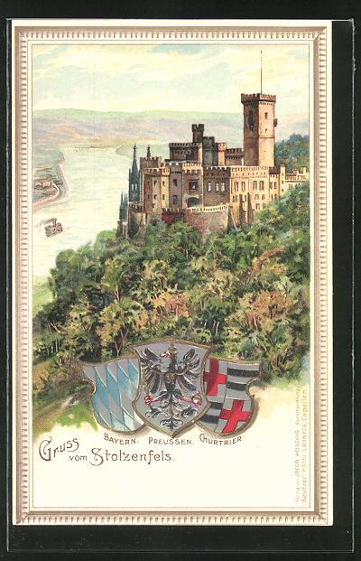 Lithographie Burg Stolzenfels, Blick auf Burg und Rhein, Wappen