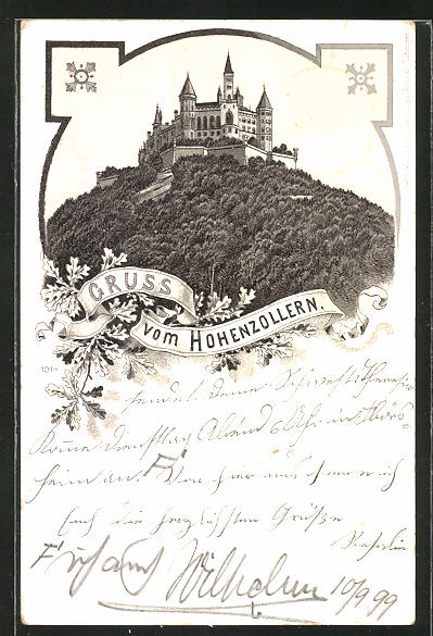 Lithographie Burg Hohenzollern vom Tal aus gesehen