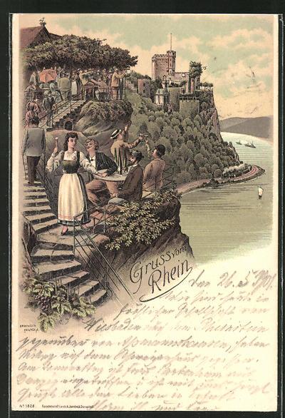 Lithographie Rhein, Blick auf Burg, Rhein und Ausflügler bei der Brotzeit