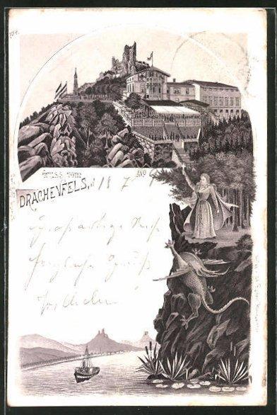 AK Burg Drachenfels, Drache stürzt die Klippen hinunter, Dampfer auf dem Rhein