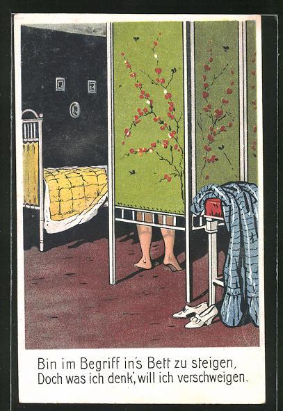 AK Frau zieht sich hinter dem Paravent aus und möchte ins Bett steigen, Erotik