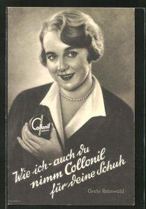 AK Reklame für Collonil Schuhpflege, Frau mit Schuhcreme-Dose in der Hand