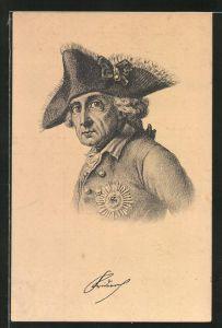 AK König Friedrich II. (der Grosse) mit Dreispitz, Portrait mit Uniform und Orden