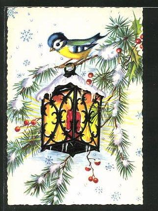Mini-AK Vogel auf einem Tannenzweig mit Laterne im Winter
