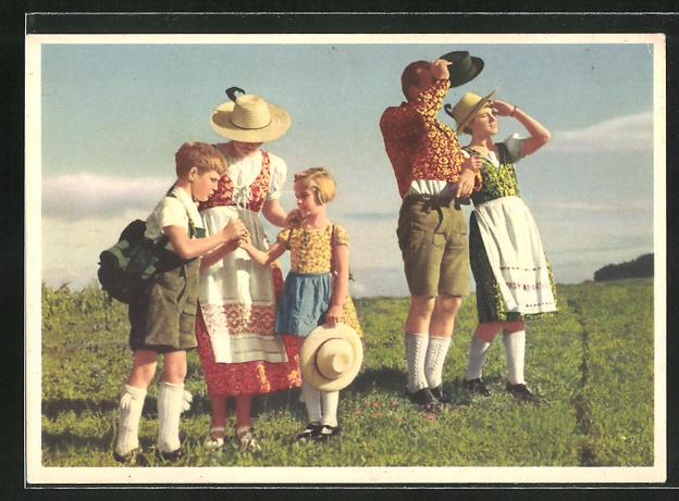 AK Reklame, Hinaus ins Freie mit indanthrenfarbiger Kleidung!, Familienausflug