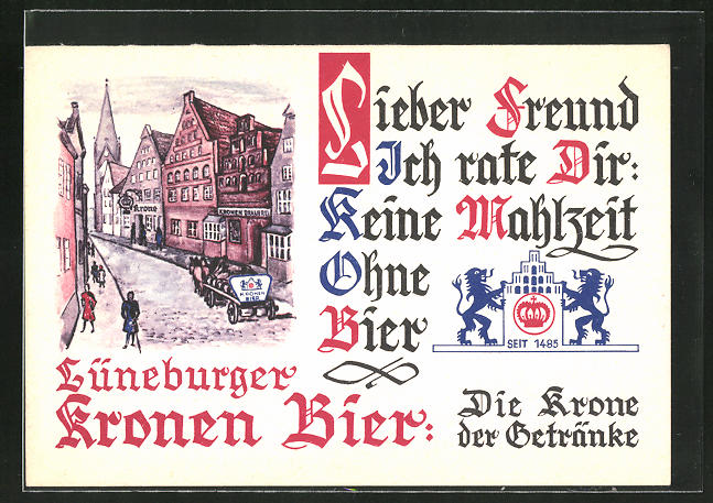 AK Brauerei-Werbung, Lüneburger Kronen Bier