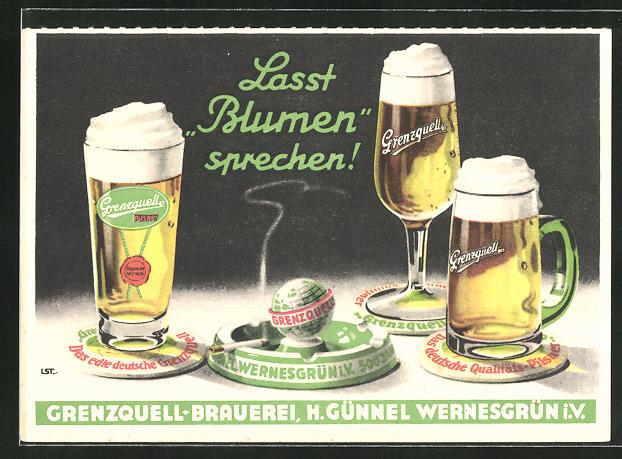 AK Brauerei-Werbung, Grenzquell-Brauerei, Bierkrüge