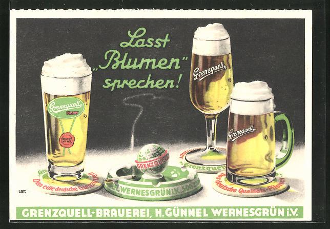 AK Brauerei-Werbung, Genzquell-Brauerei, Bierkrüge auf dem Tisch