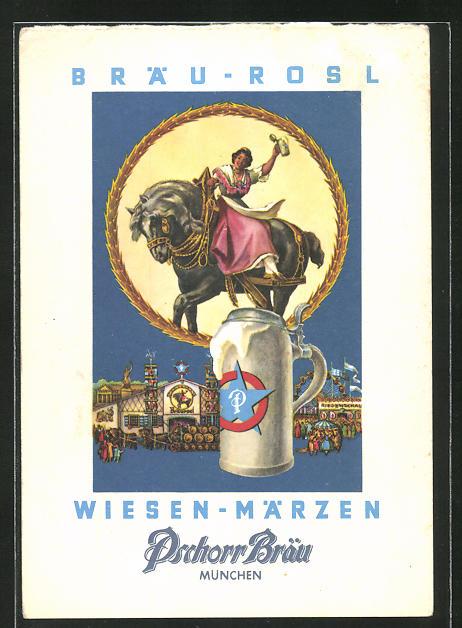 AK München, Brauerei-Werbung, Pschorr Bräu, Bierkrug mit Bräu-Rosl auf einem Pferd