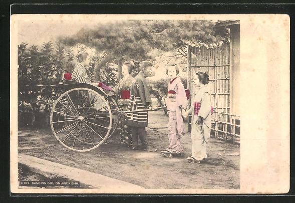AK Japanerinnen im Kimono mit einer Rikscha