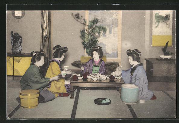AK Japanerinnen im Kimono beim Tee