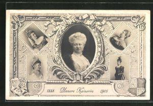 AK Kaiserin Auguste Victoria Königin von Preussen, 1858 Unsere Kaiserin 1908