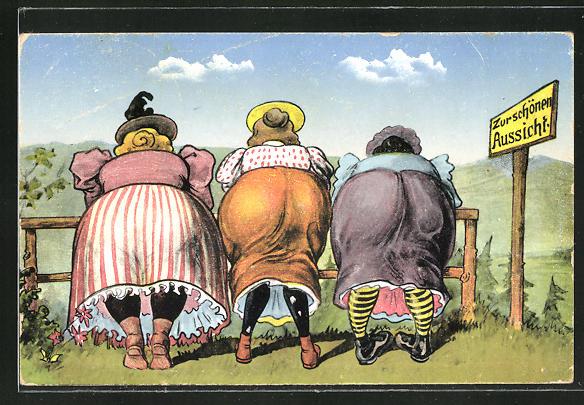 AK Dicke Frauen auf einer Weide von hinten