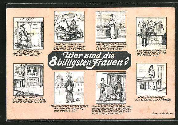 AK Wer sind die 8 billigsten Frauen?, Die Abortfrau, Die Gemüsefrau, Das Zigarrenfäulein, frauenfeindlicher Humor