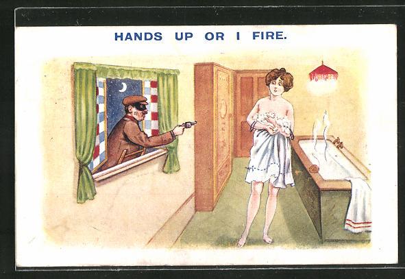 AK Hands up or I fire, Gauner bedroht nackte Frau mit Revolver