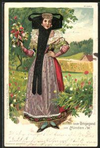 Lithographie Trachten aus der Umgegend von Minden, Maid mit Blumen
