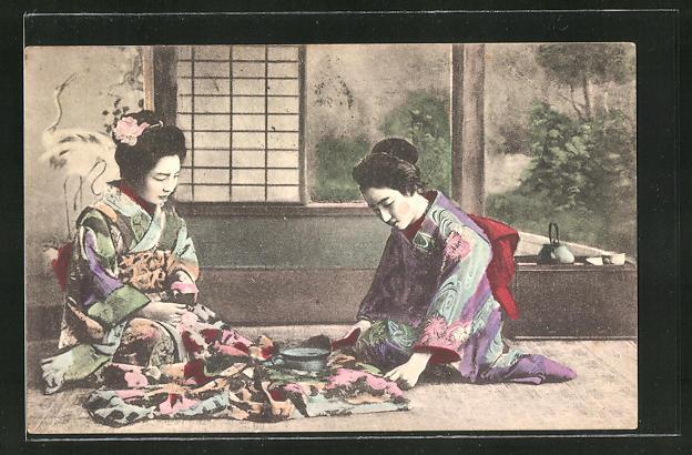 AK Zwei Japanerinnen in Kimonos, Geishas