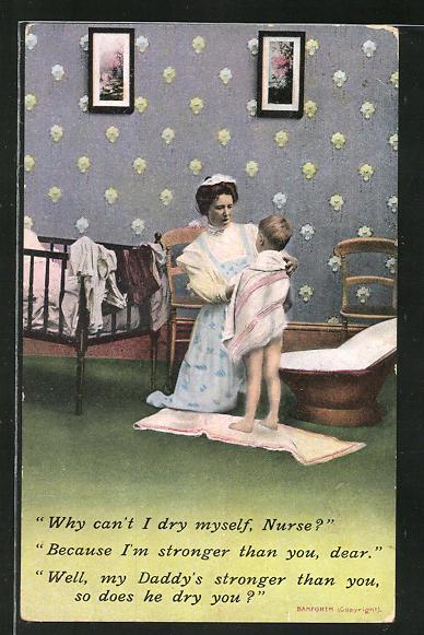 AK Why can't I dry myself, Nurse?, kleiner Bub stellt Kindermädchen unanständige Frage, erotischer Humor