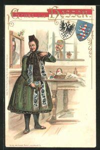 Präge-AK Mädchen kleidet sich in hessische Tracht